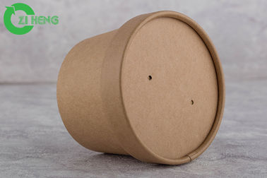 Drink / Snack Kraft Paper Cups 350 Ml Anti Water With Paper Cover Eco Friendly